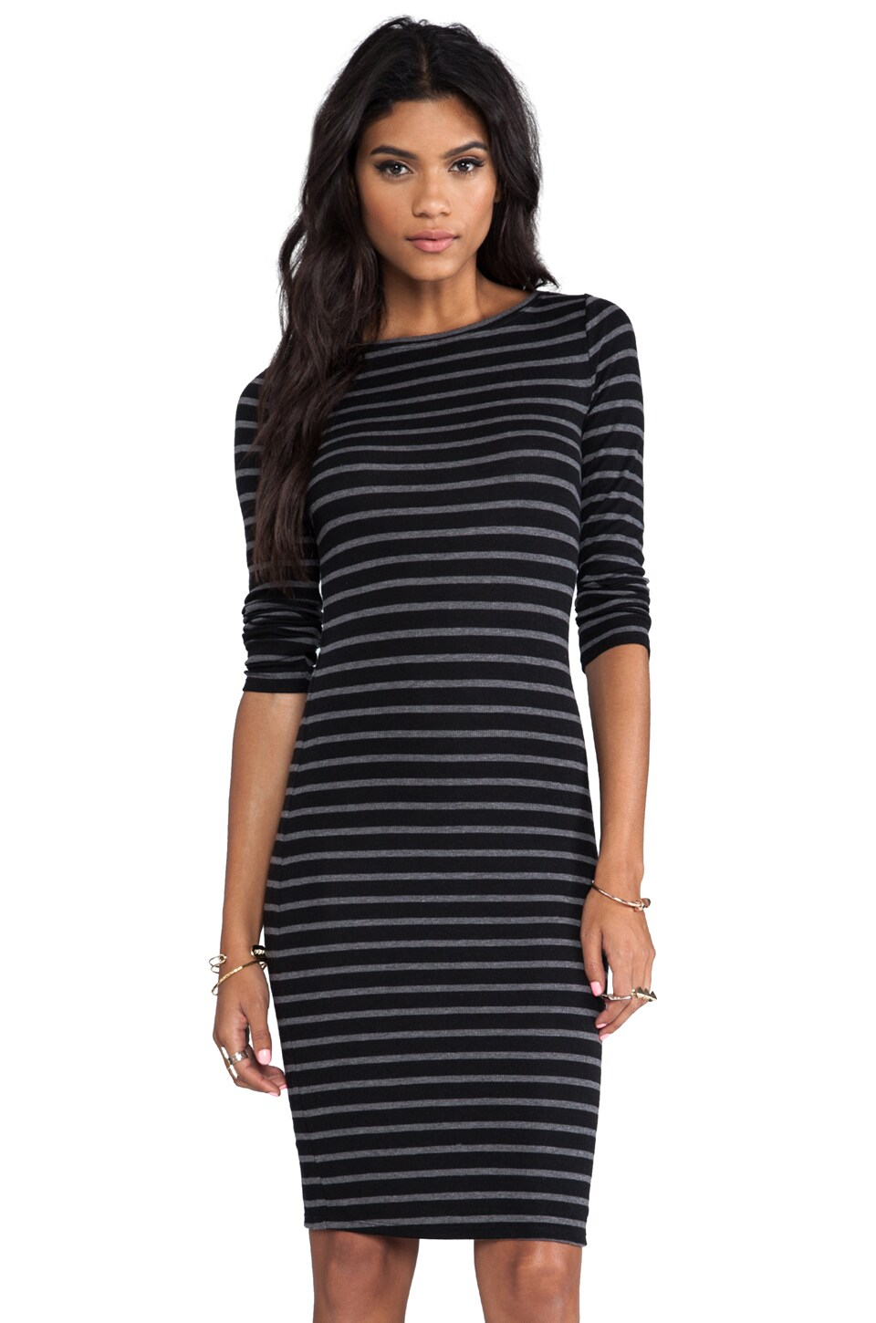 BCBGMAXAZRIA Briza Dress in Black/Grey Combo