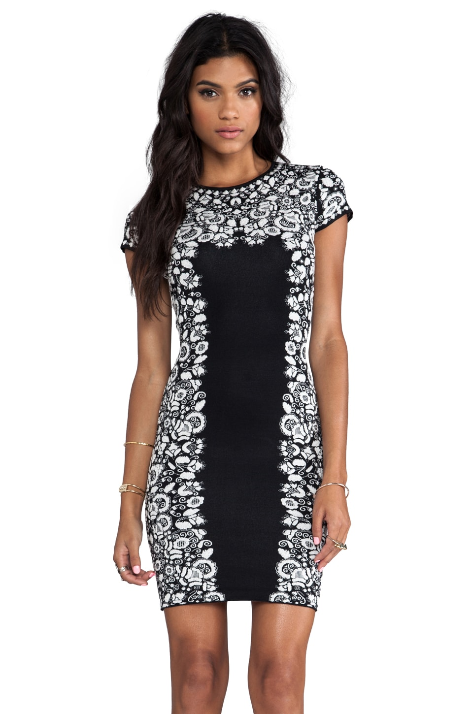 BCBGMAXAZRIA Fabiana Dress in Black Combo