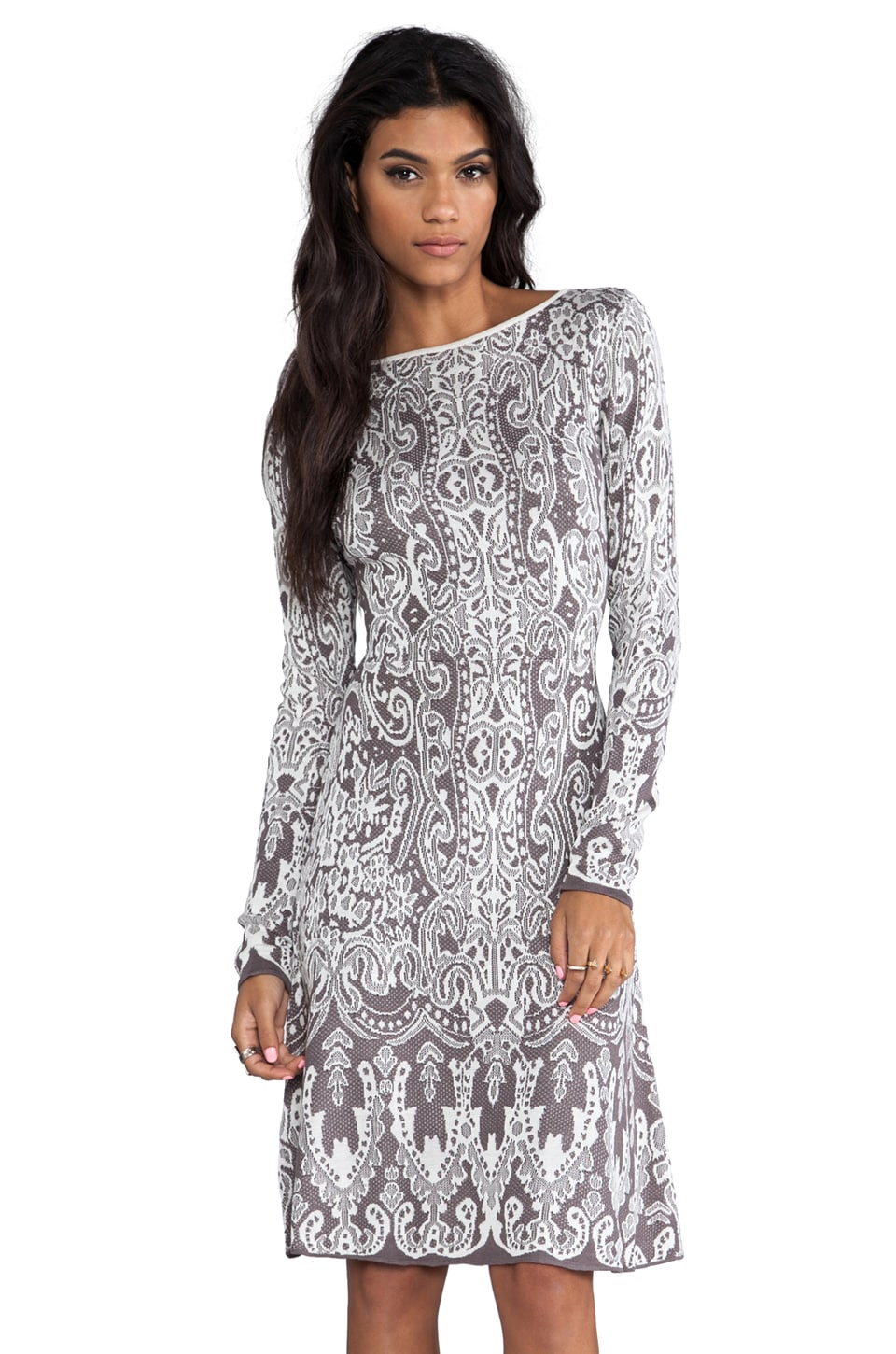 BCBGMAXAZRIA Petra lace Dress in Grey Combo