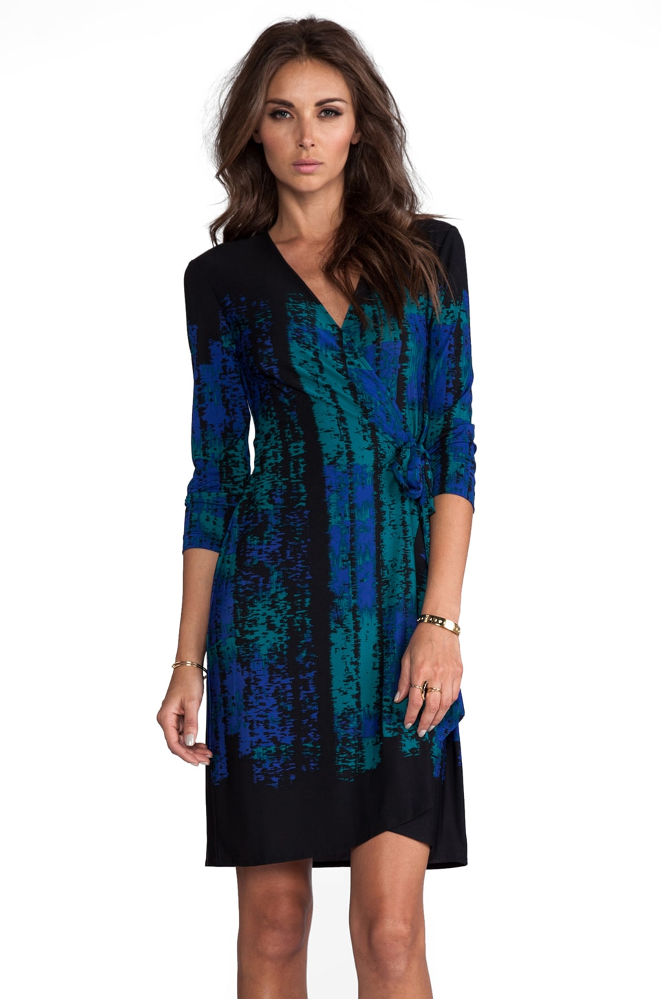 BCBGMAXAZRIA Adele Wrap Dress in Dark Teal Combo