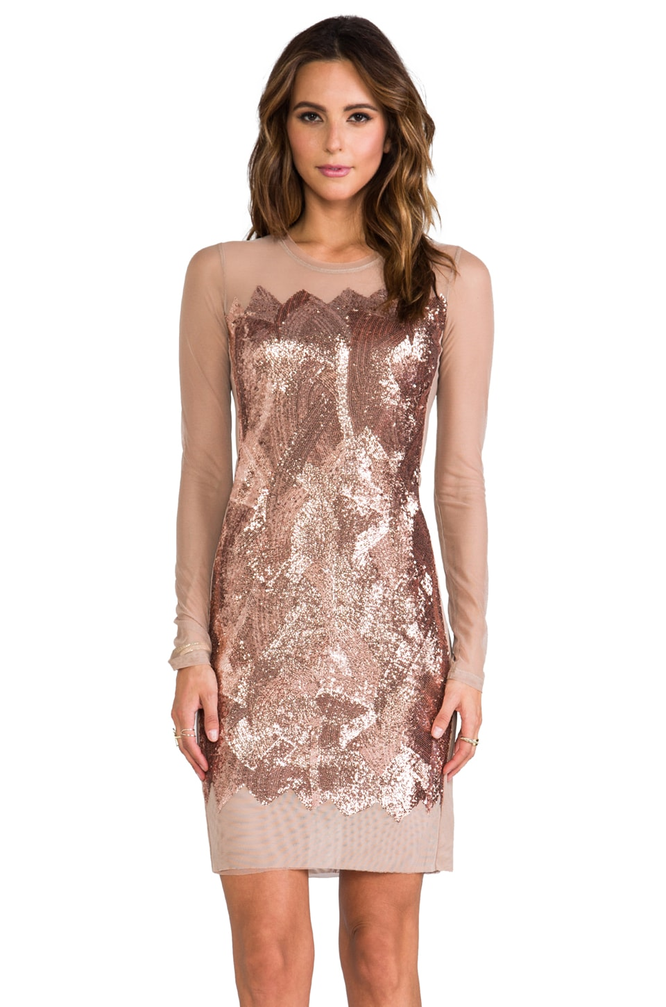 BCBGMAXAZRIA Anaya Sequin Dress in Nude Combo