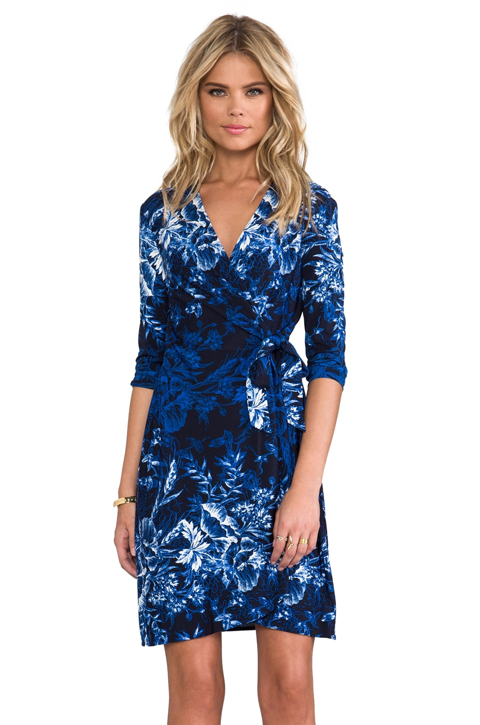 BCBGMAXAZRIA Adele Wrap Dress Combo in Orient Blue