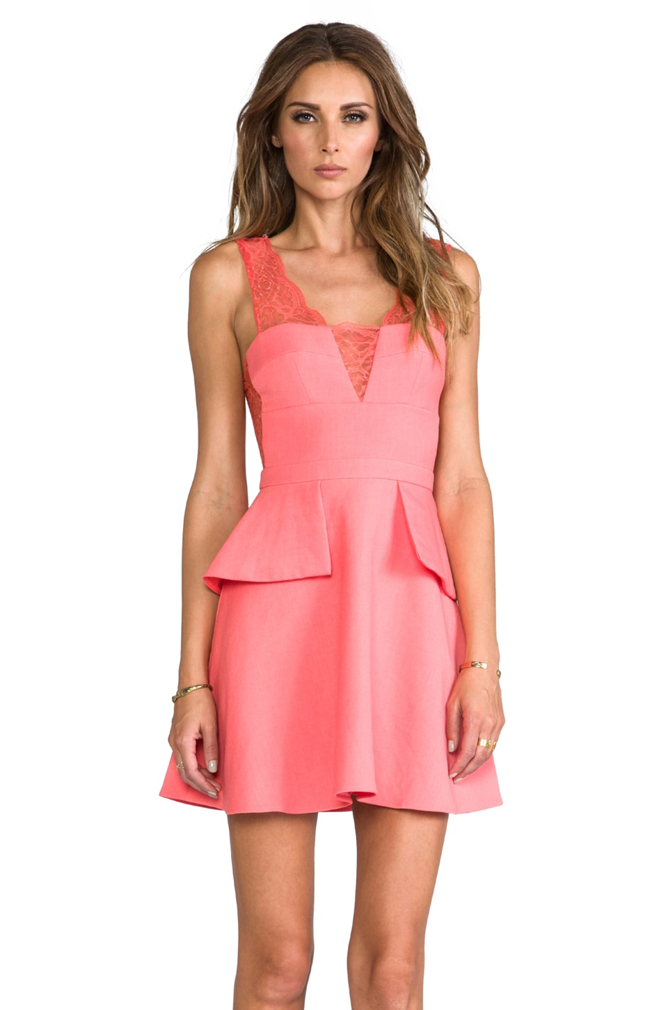 BCBGMAXAZRIA Leeann Dress in Pink Coral