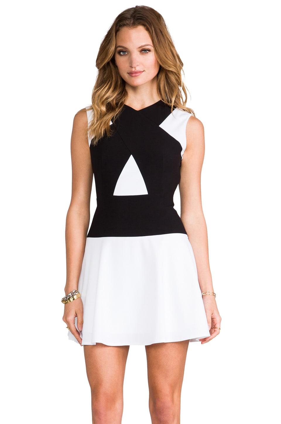 BCBGMAXAZRIA Aloissa Dress in White Combo