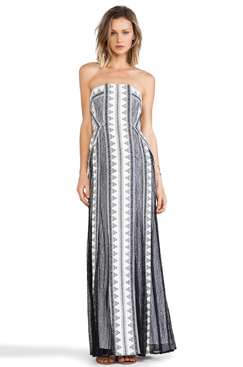 BCBGMAXAZRIA Kia Dress in Off White Black Combo