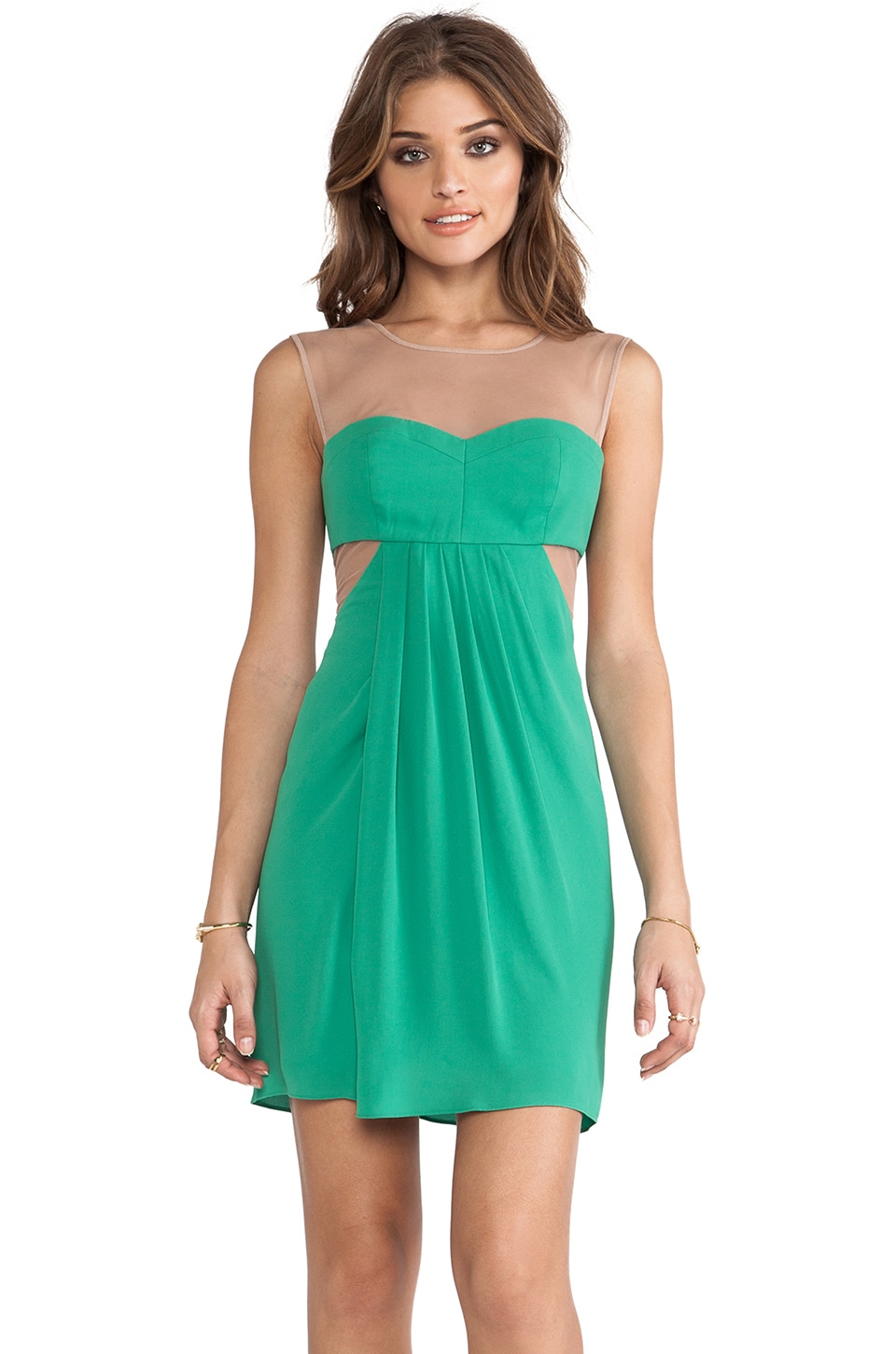 BCBGMAXAZRIA Mesh Panel Dress in Kelly Green