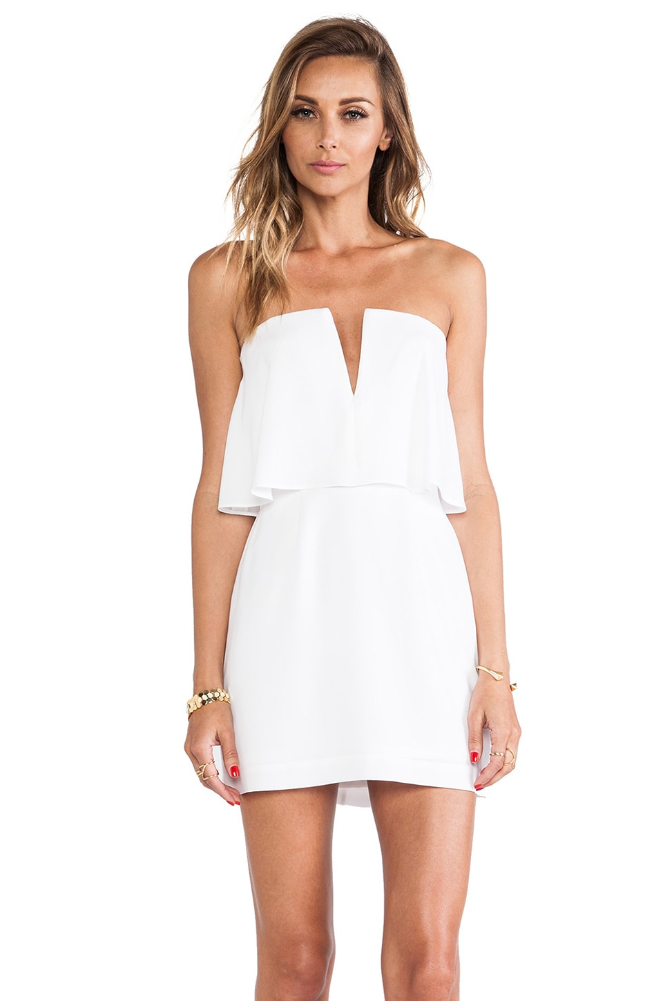 BCBGMAXAZRIA Kate Strapless Mini Dress in White