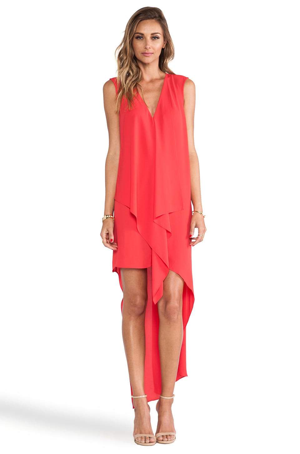 BCBGMAXAZRIA Tara Ruffle Front Dress in Lipstick Red