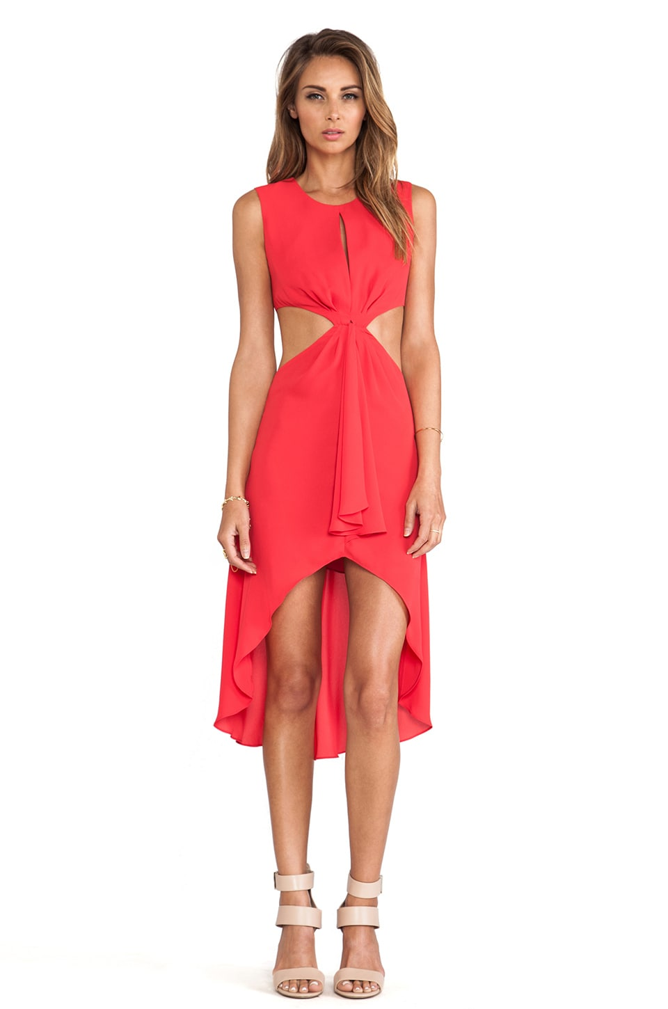 BCBGMAXAZRIA Victoria Cut Out Dress in Lipstick Red