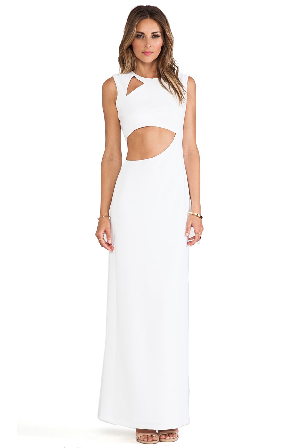 BCBGMAXAZRIA Kimora Cut Out Maxi Dress in White