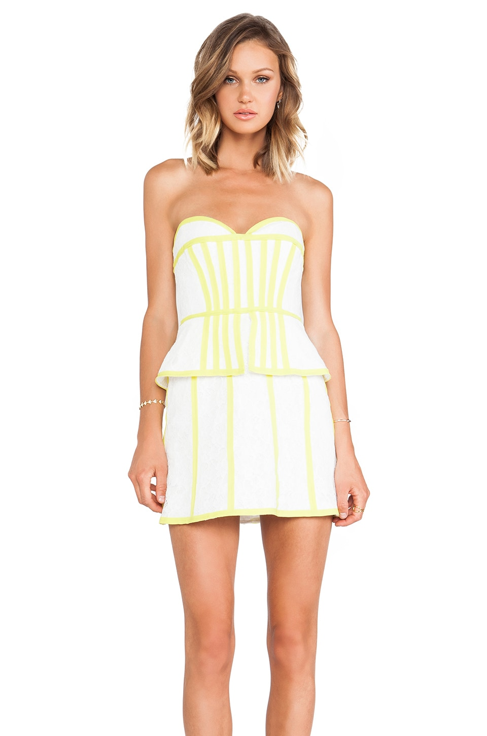 BCBGMAXAZRIA Strapless Dress in Off White Combo