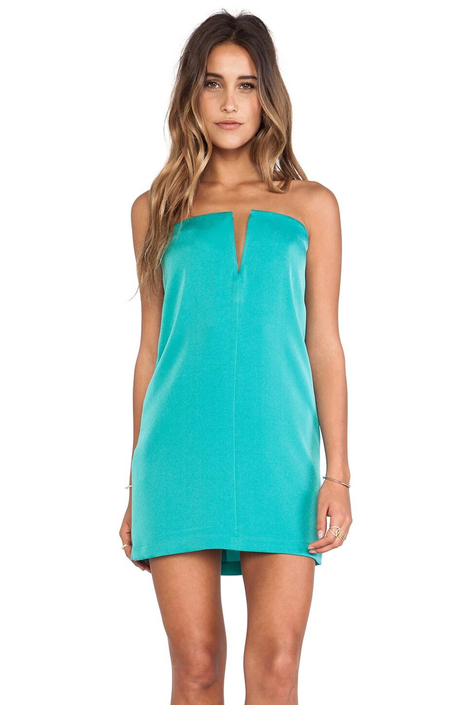 BCBGMAXAZRIA Nahara Strapless Dress Green in Dark Sea