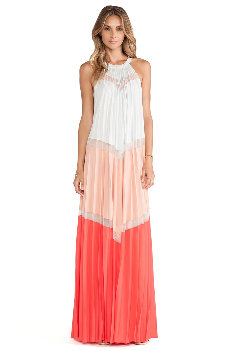 BCBGMAXAZRIA Color Blocked Maxi Dress in Moonlight Combo