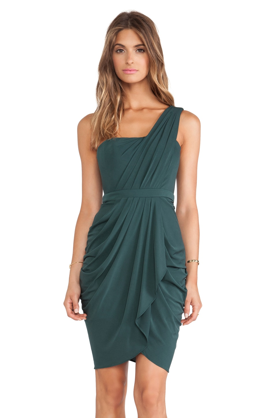BCBGMAXAZRIA Julieta One Shoulder Dress in Fern