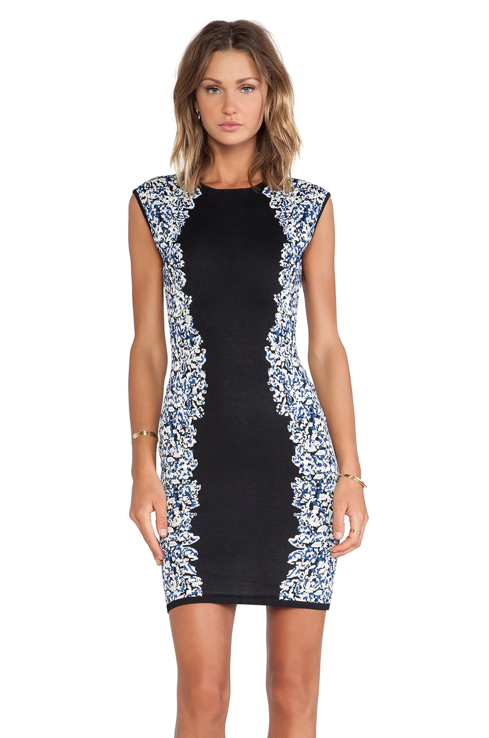 BCBGMAXAZRIA Elena Bodycon Dress in Black Combo
