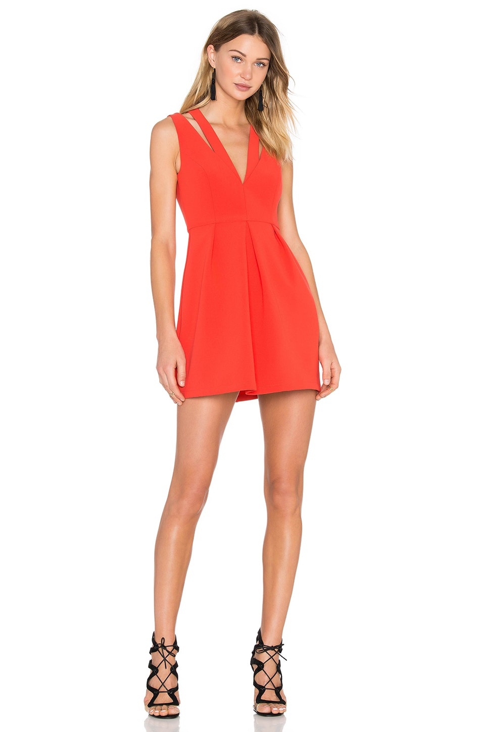 BCBGMAXAZRIA Clarye Deep V Dress in Bright Poppy