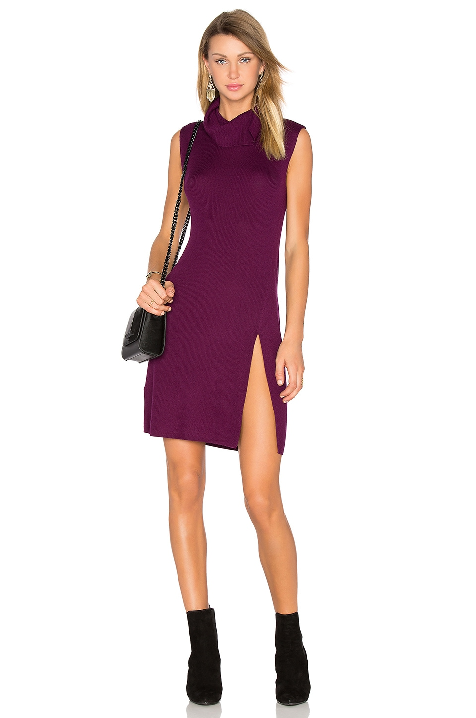 BCBGMAXAZRIA Side Slit Sweater Dress in Deep Port
