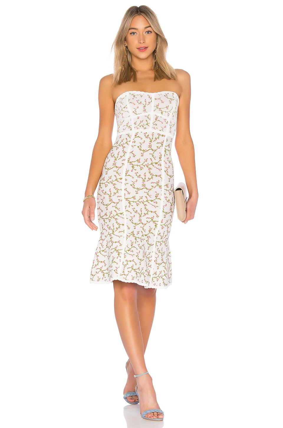 Lynne Jacquard Strapless Dress in White. - size M (also in L,S,XS) Bcbgmaxazria