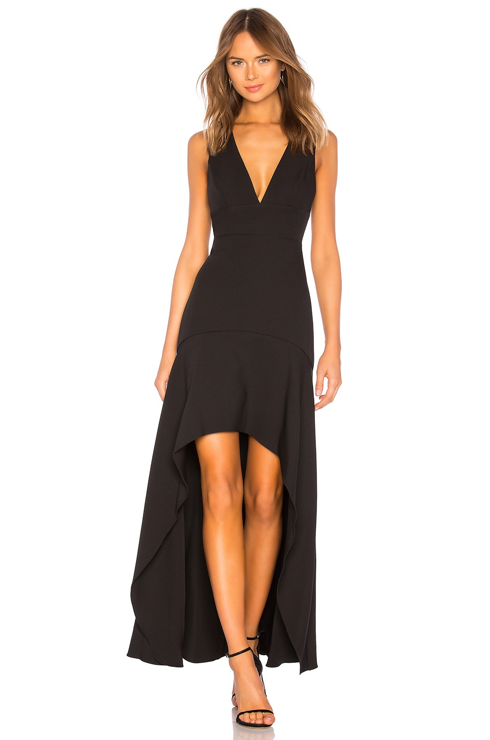 BCBGMAXAZRIA Plunging Hi Low Gown in Black