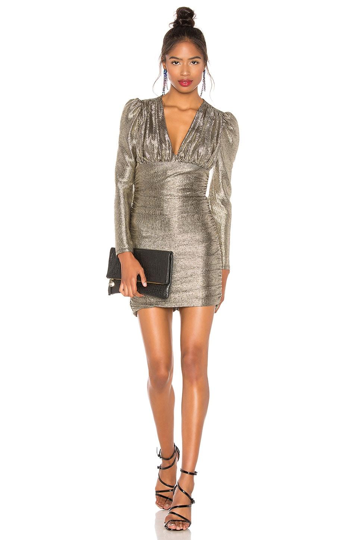 BCBGMAXAZRIA Metallic Shirred Dress in Gold Combo