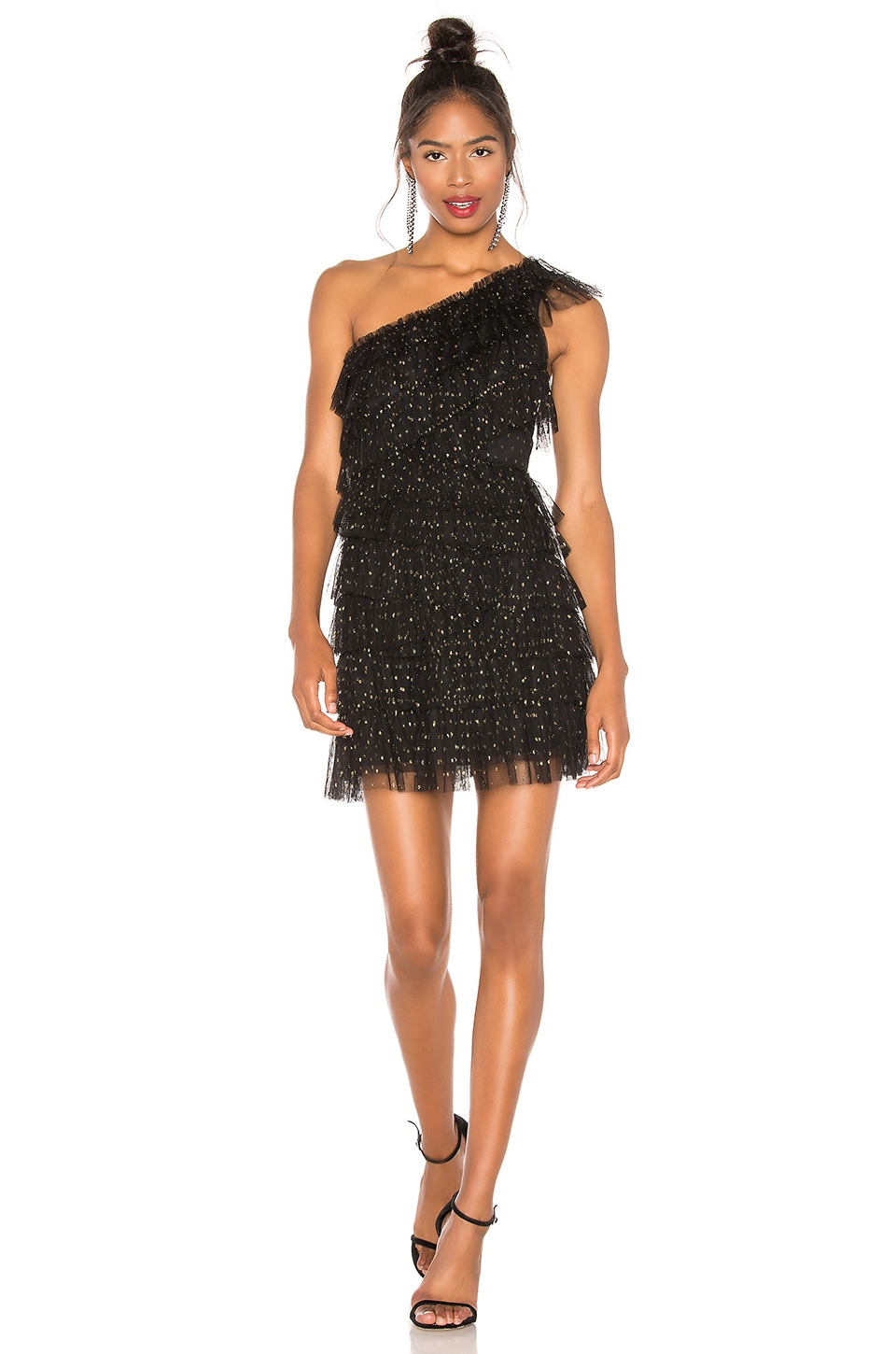 BCBGMAXAZRIA Tiered Tulle Dress in Black