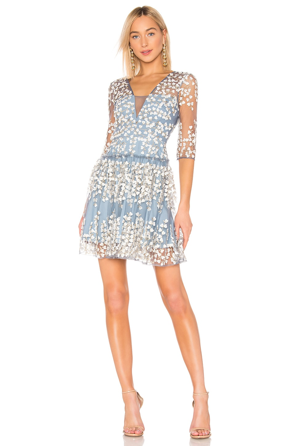 BCBGMAXAZRIA Embroidered Cocktail Dress in Frost