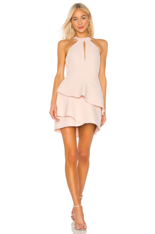 BCBGMAXAZRIA Ruffle Cocktail Dress in Bare Pink