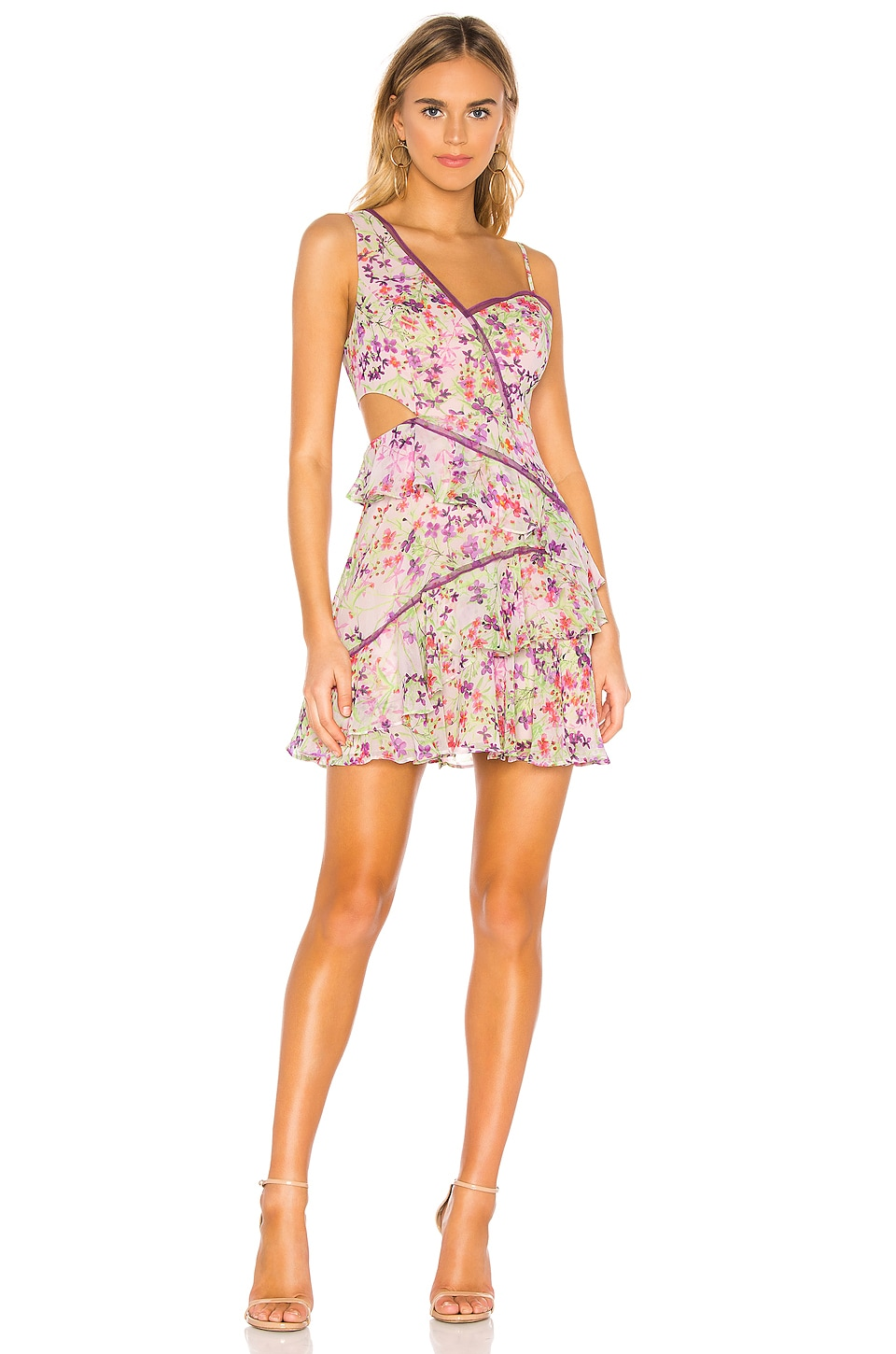 BCBGMAXAZRIA Ruffle Cutout Dress in Botanical Floral Iris