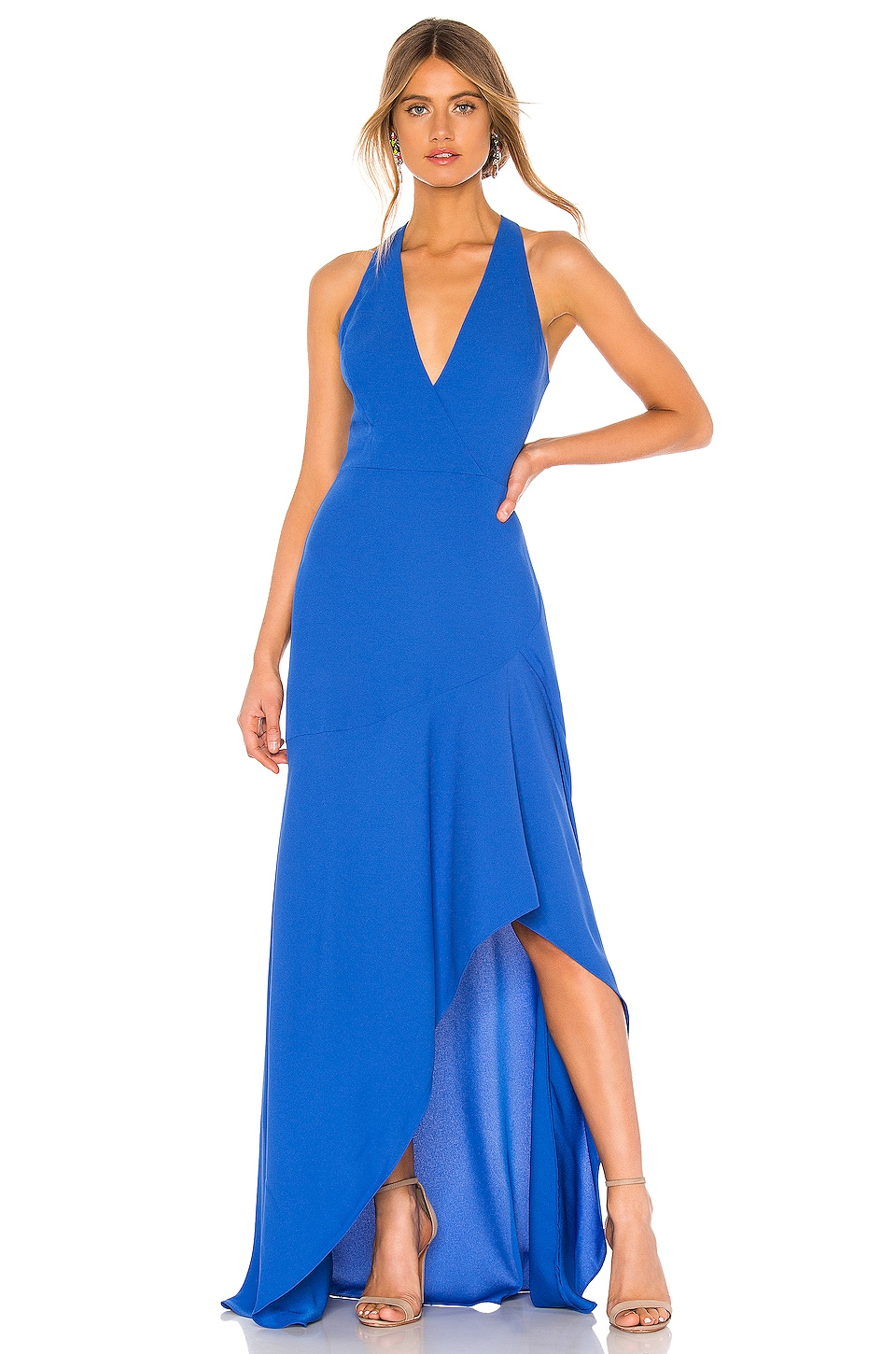 BCBGMAXAZRIA High Low Halter Gown in True Blue