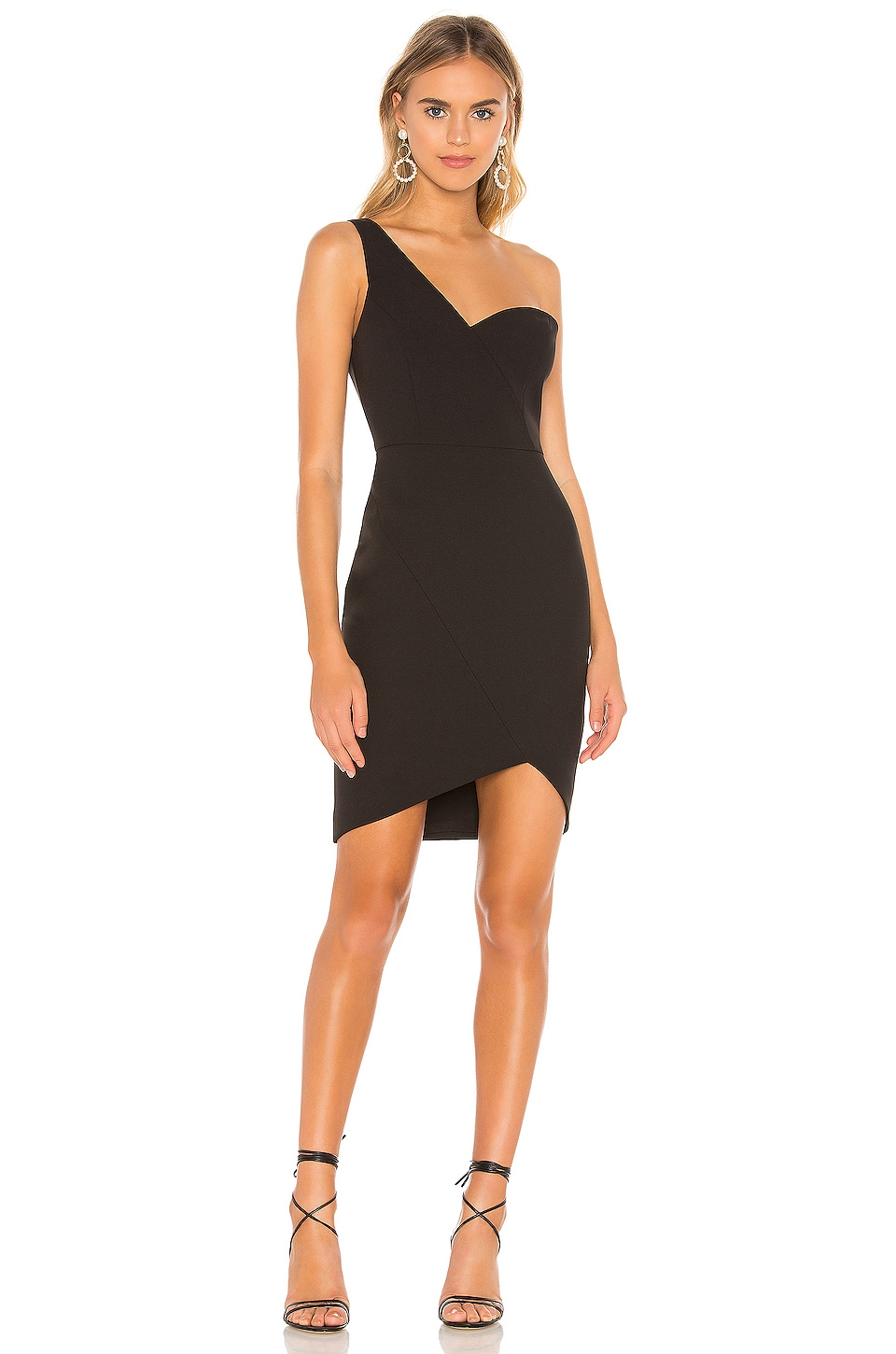 BCBGMAXAZRIA Eve One Shoulder Dress in Black