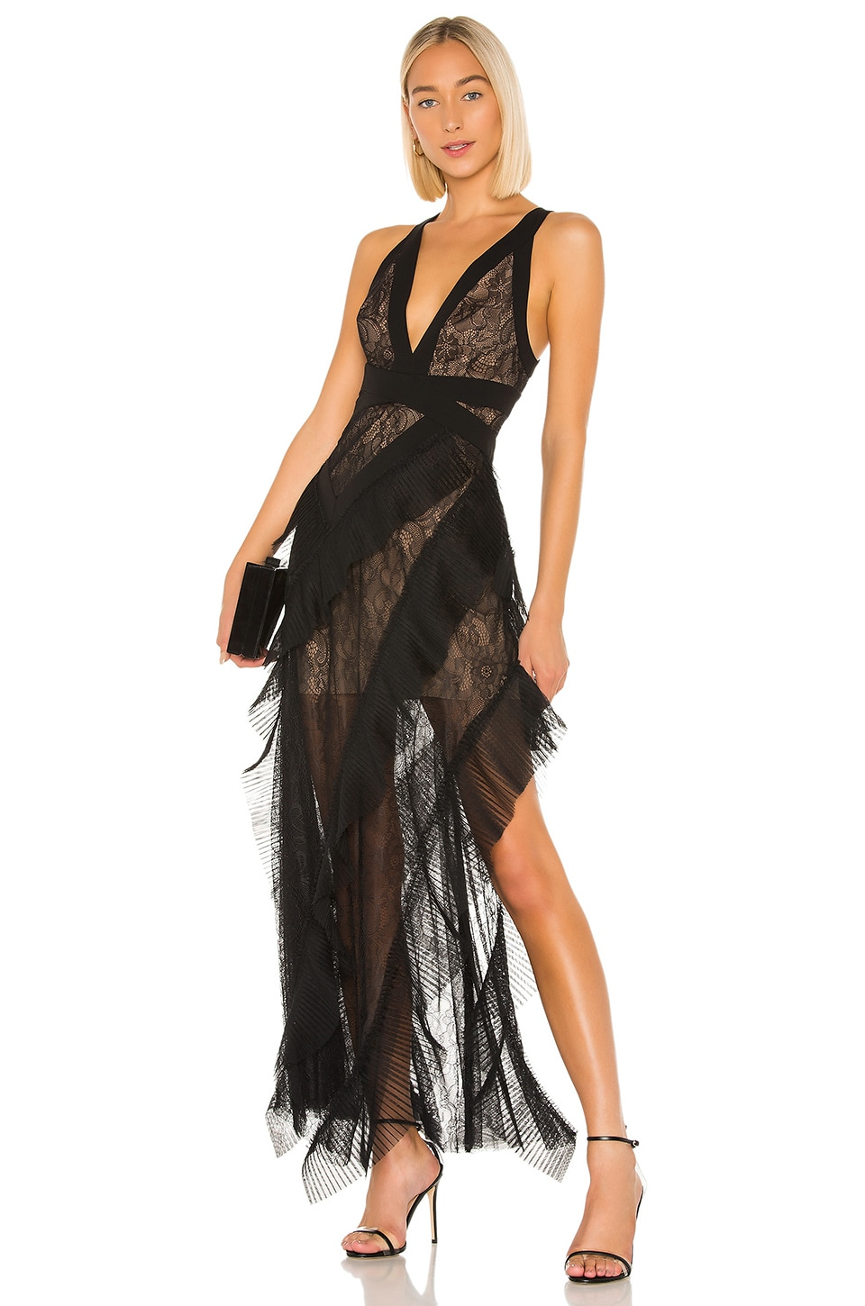 BCBGMAXAZRIA Ruffle Gown in Black