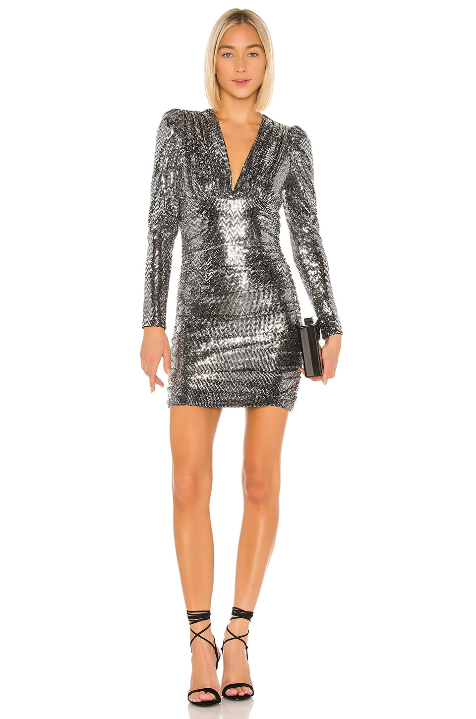 BCBGMAXAZRIA Ruched Mini Dress in Silver Combo