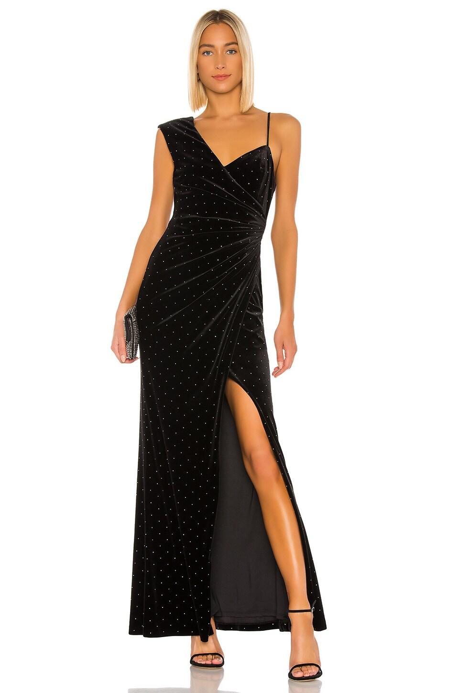 BCBGMAXAZRIA Velvet Rhinestone Gown in Black