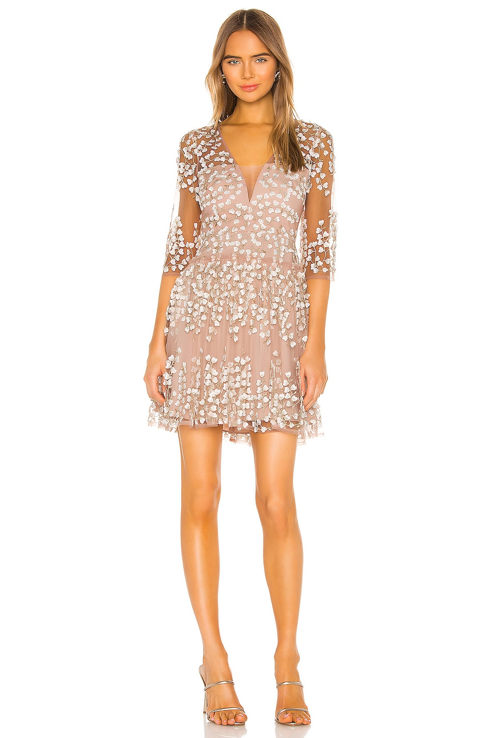 BCBGMAXAZRIA Embroidered Cocktail Dress in Bare Pink