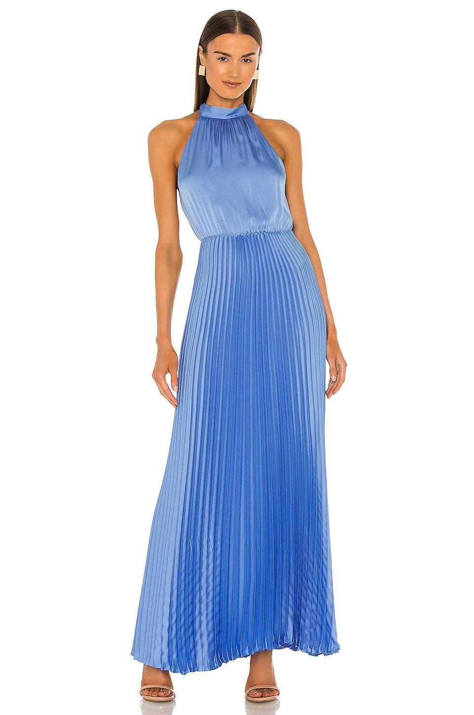 BCBGMAXAZRIA Pleat Halter Gown in Cassis Blue