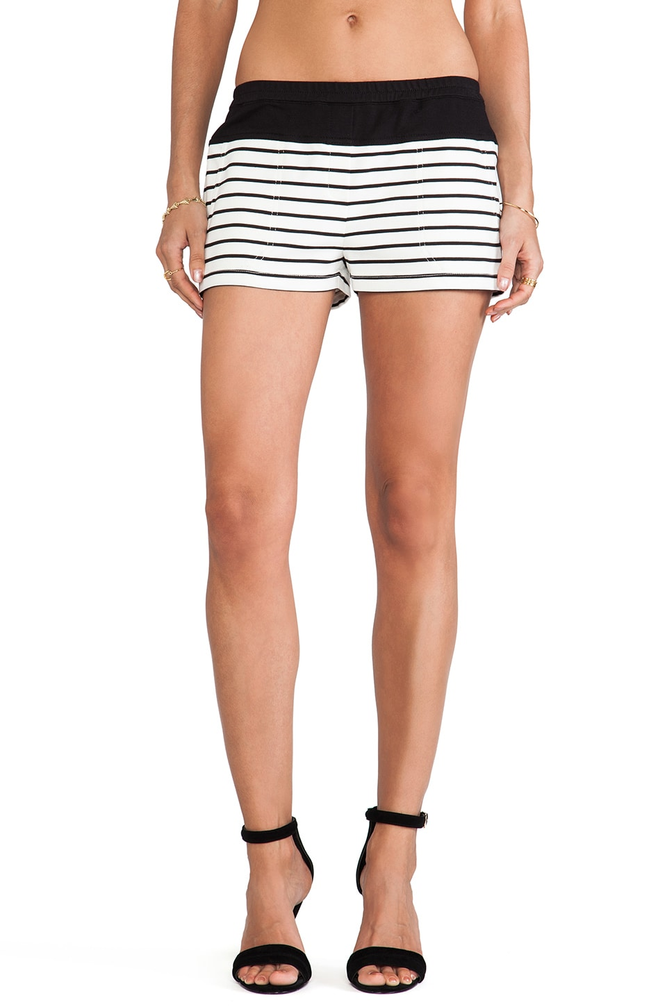 BCBGMAXAZRIA Teagan Striped Shorts in Off White & Black Combo