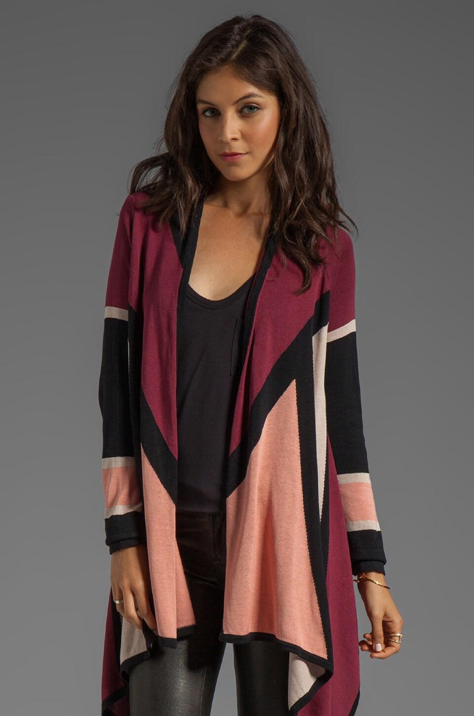 BCBGMAXAZRIA Drape Cardigan in Bare Pink Combo