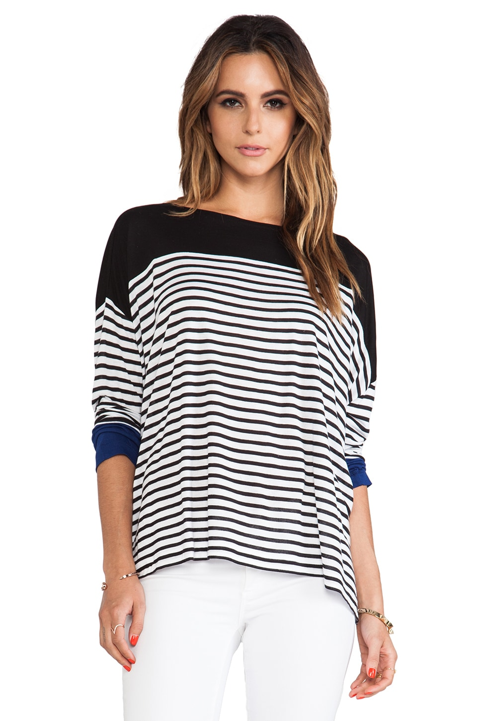 BCBGMAXAZRIA Rochelle Striped Top in White & Black