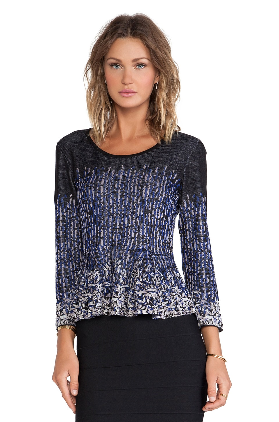 BCBGMAXAZRIA Fiona Pullover in Royal Blue Combo