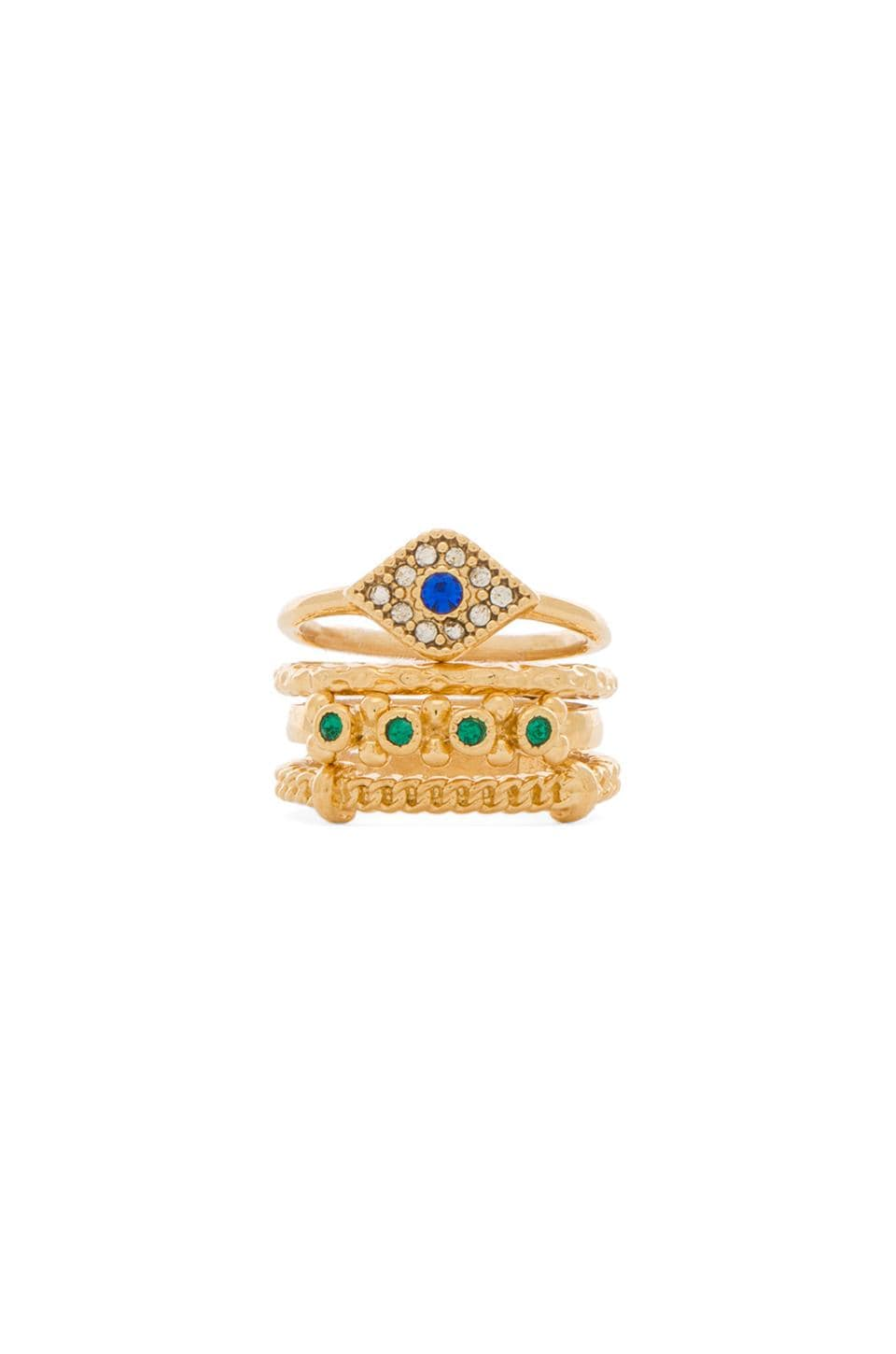 BCBGMAXAZRIA Stacked Evil Eye Ring in Sapphire