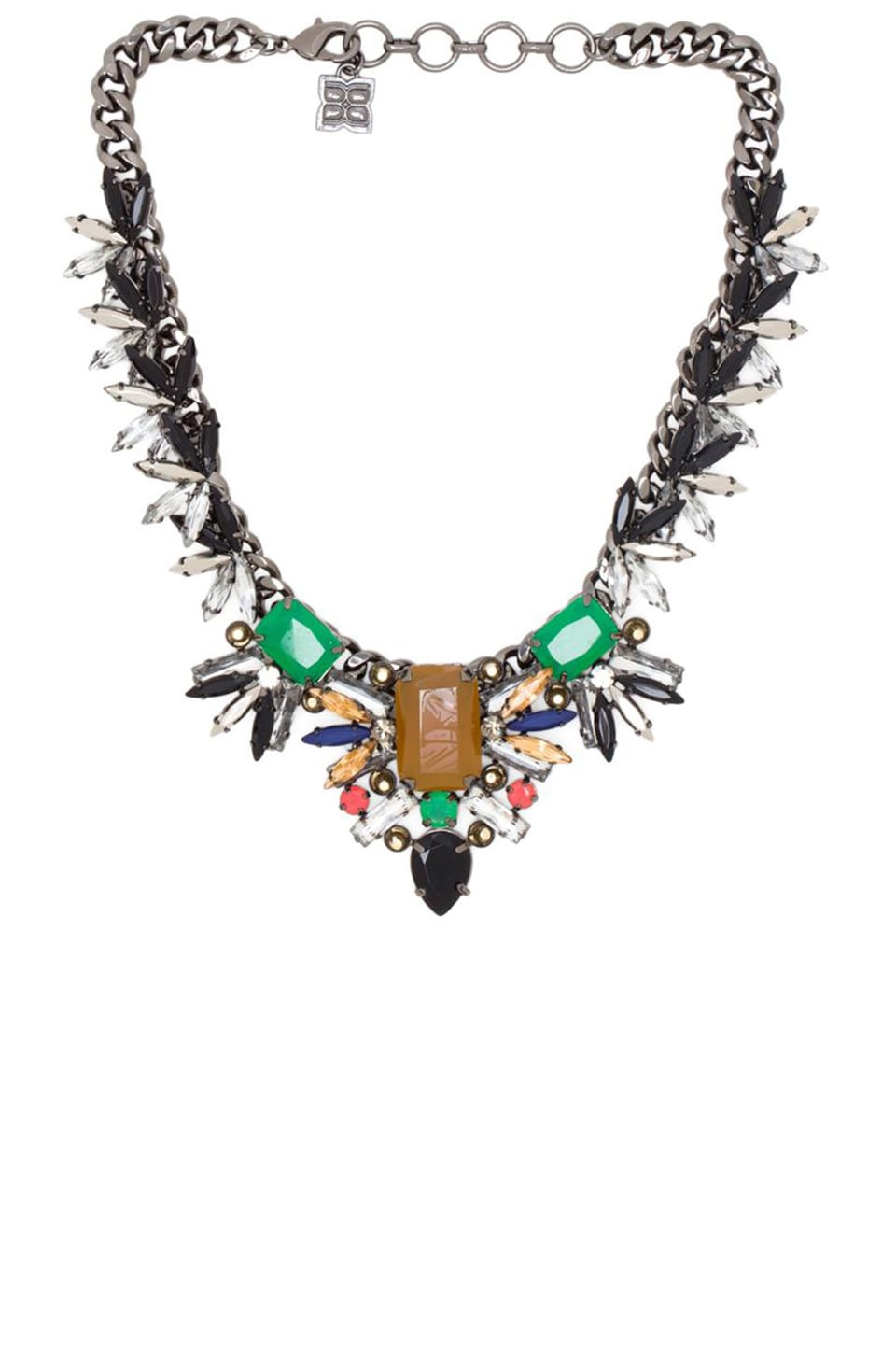 BCBGMAXAZRIA Gemstone Spike Necklace in Amazon Green Combo