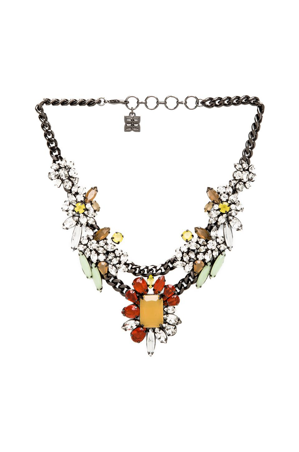 BCBGMAXAZRIA Multi Color Floral Stone Necklace in Poppy Combo