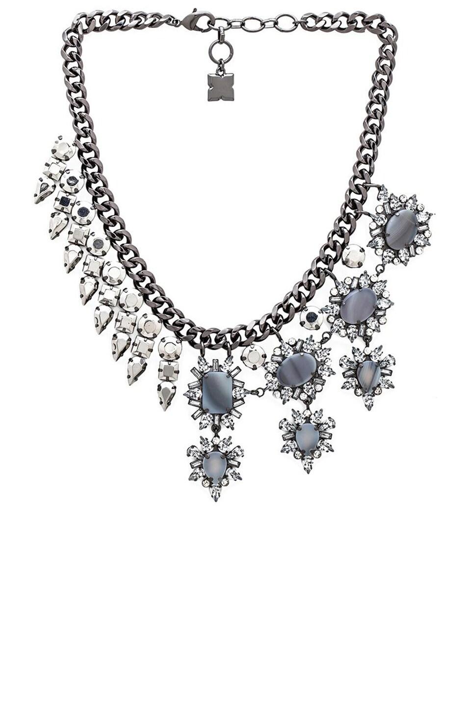 BCBGMAXAZRIA Half Metal Necklace in Grey Agate Combo