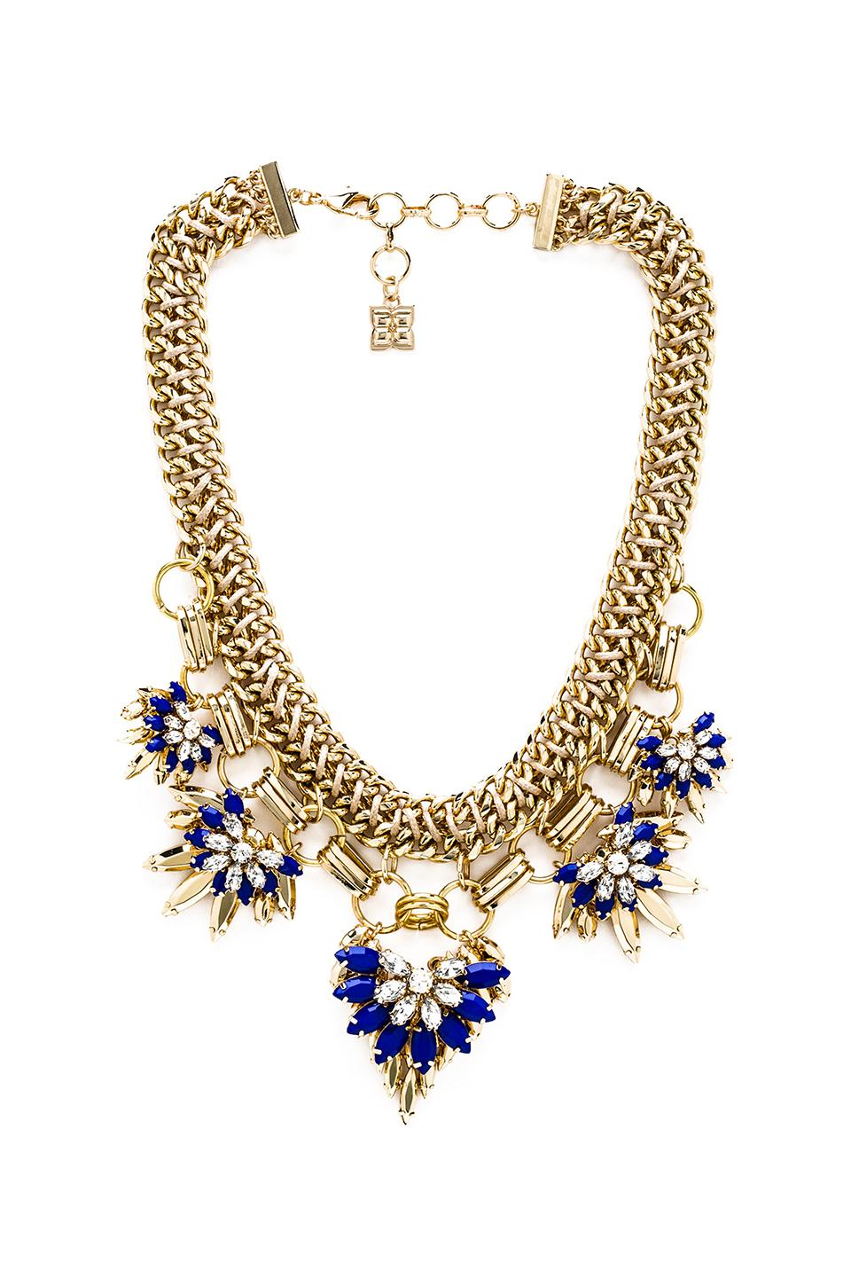 BCBGMAXAZRIA Floral Stone Chain Necklace in Larkspur Blue Combo