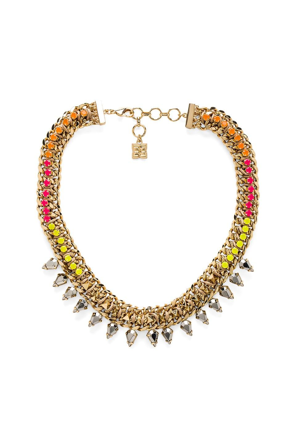 BCBGMAXAZRIA Pyramid Woven Necklace in Gold
