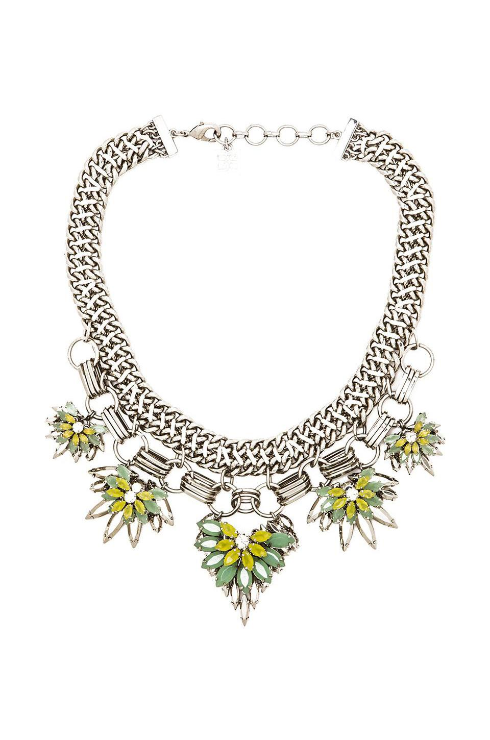 BCBGMAXAZRIA Floral Stone Chain Necklace in Aqua Combo