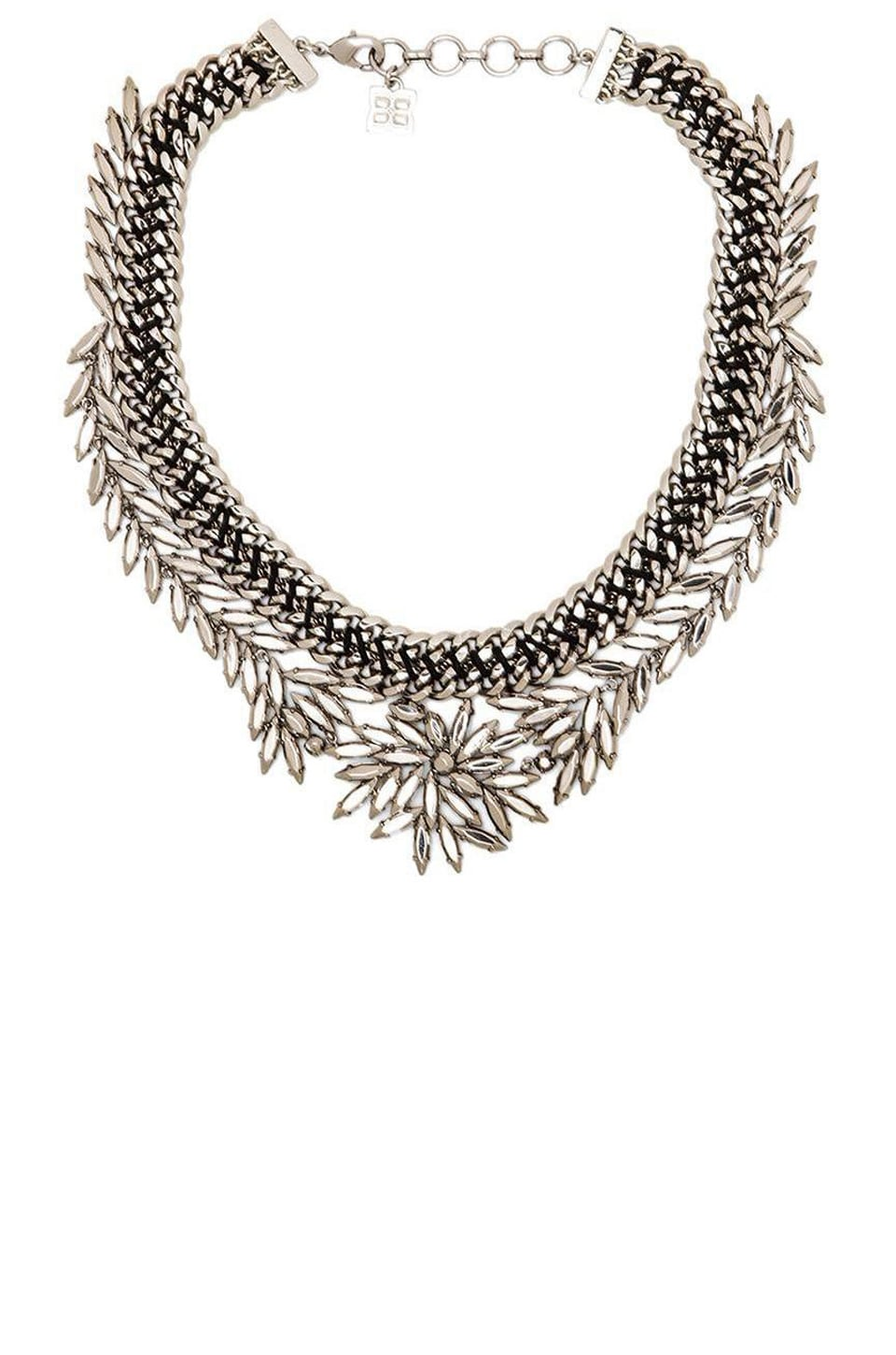 BCBGMAXAZRIA Woven Leaf Necklace in Rhodium