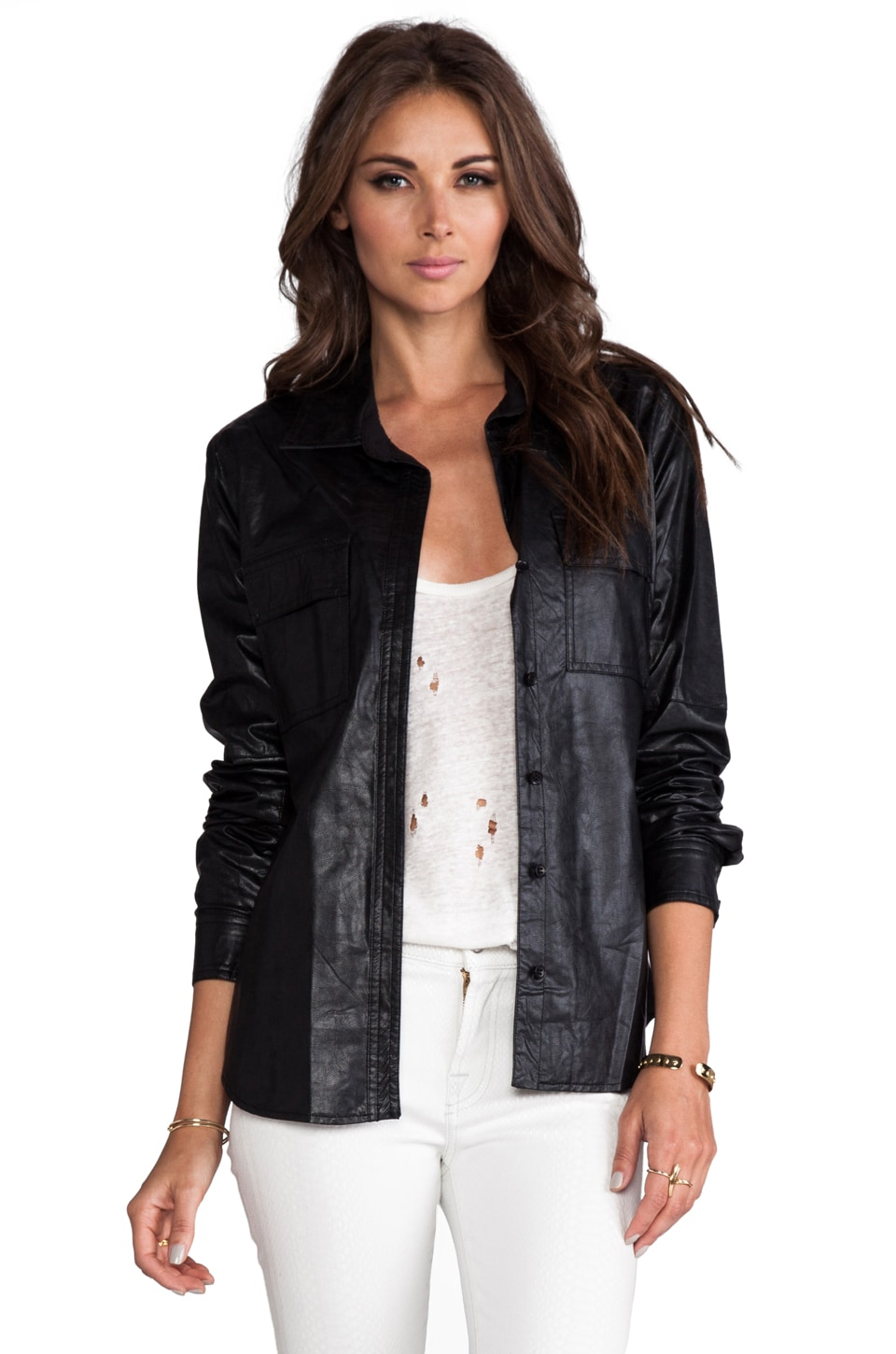 BCBGMAXAZRIA Torey Vegan Leather Jacket in Black