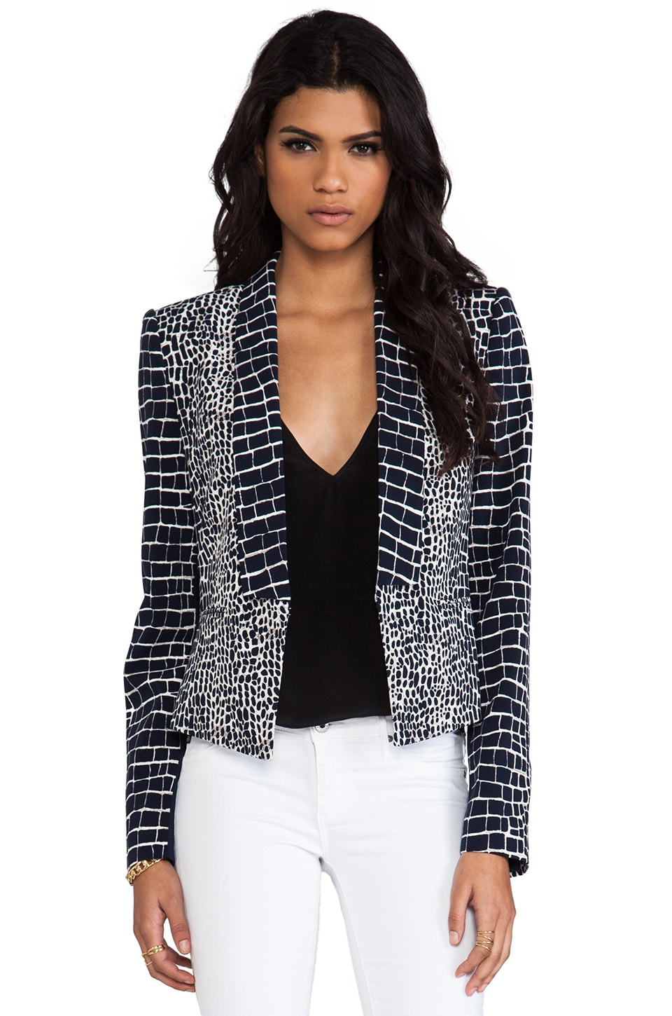 BCBGMAXAZRIA Leeam Blazer in White Combo