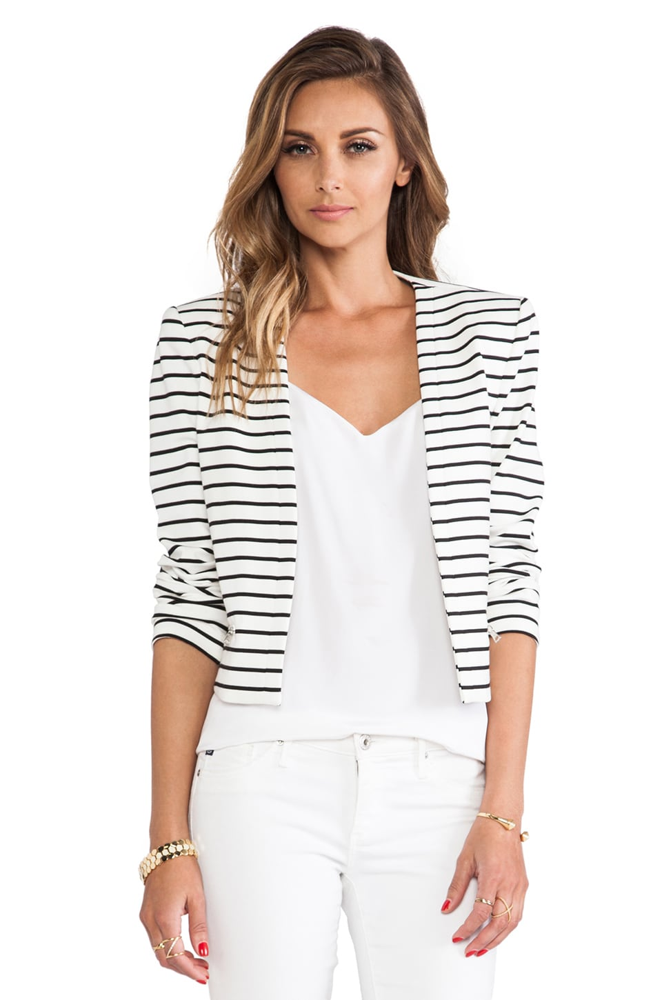 BCBGMAXAZRIA Wade Striped Blazer in Off White & Black Combo